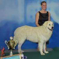 pes Dino na stupních vítězů s majitelkou Kateřinou Rychetskou